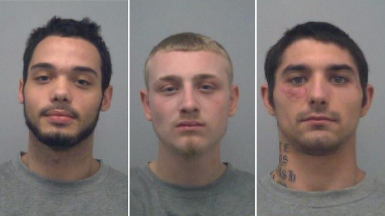 Clayton Barker, 20 (L), Charlie Chandler, 22 (C) and Earl Bevans, 23 (R), will all be sentenced next month. Pic: Thames Valley Police