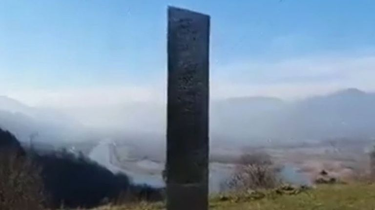 Metal monolith appears in Romania