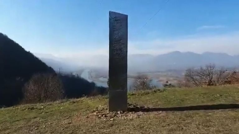 The monolith has appeared in Romania. Pic: Ziar Piatra Neamt