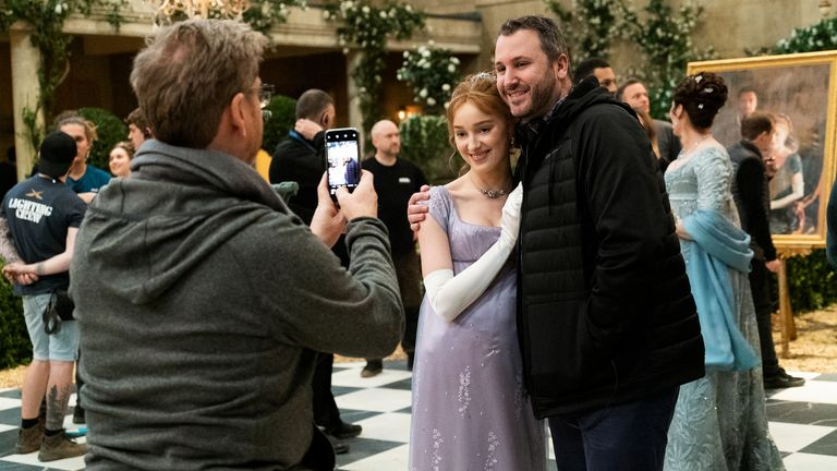 Executive producer Chris Van Dusen with actress Phoebe Dynevor. Pic: Netflix