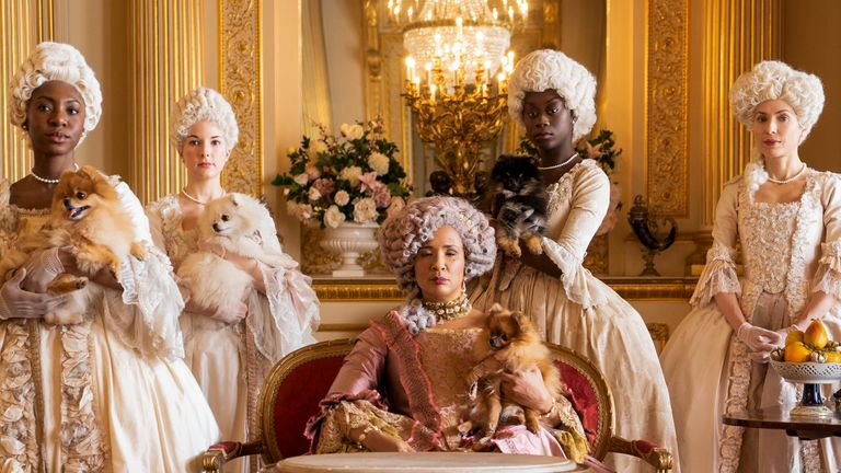 Bridgerton presents Queen Charlotte as England's first mixed race queen, played by Golda Rosheuvel. Pic: Netflix