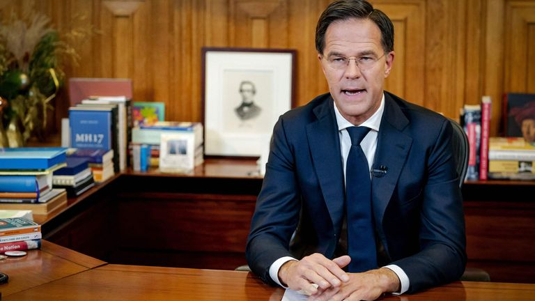 Prime Minister Mark Rutte holds a televised address