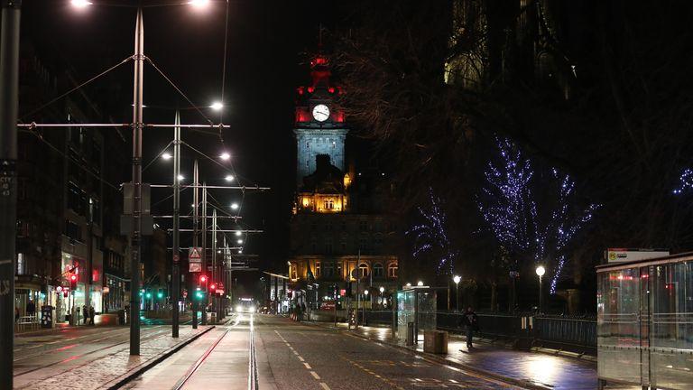An empty Princess Street in Edinburgh