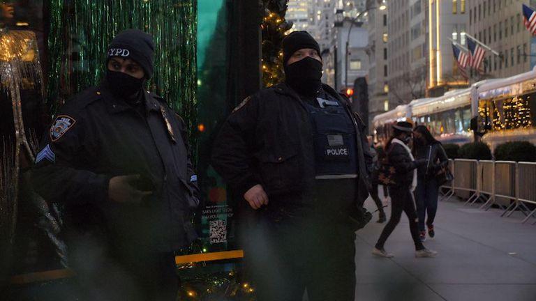 New York officers patrolling near Rockefeller Plaza