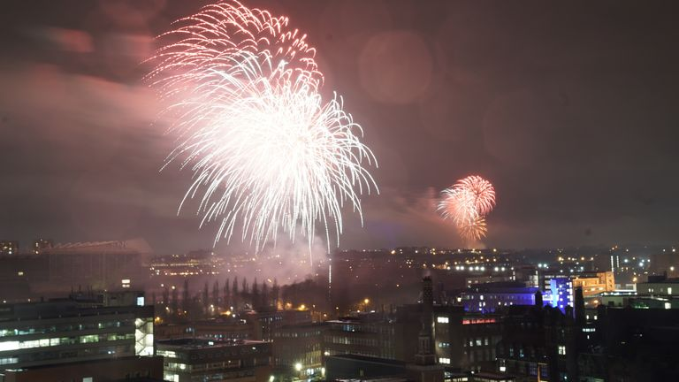 Fireworks are set off over St James' Park in Newcastle