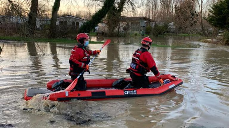 Volunteers of  Northamptonshire Search and Rescue are seen navigating the floods to rescue people on Christmas Eve. Pic: Northamptonshire Search and Rescue