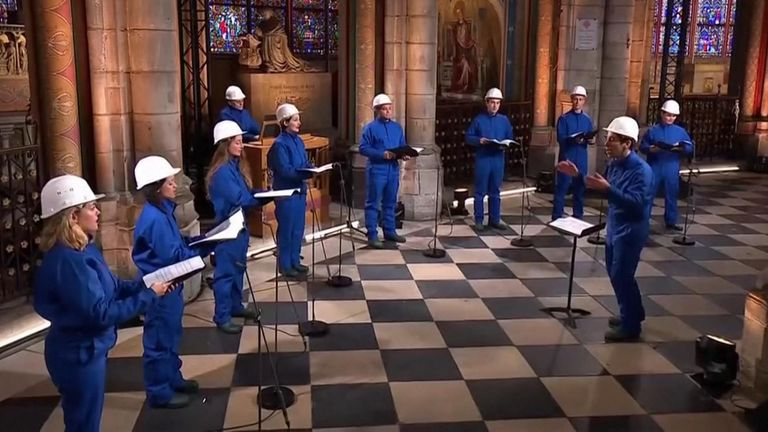The Notre Dame choir sand in the cathedral for the first time since the fire Pic: FRANCE TÉLÉVISIONS