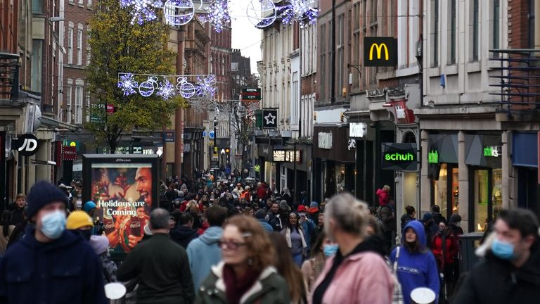 Nottingham city centre was busy with shoppers on Sunday as well