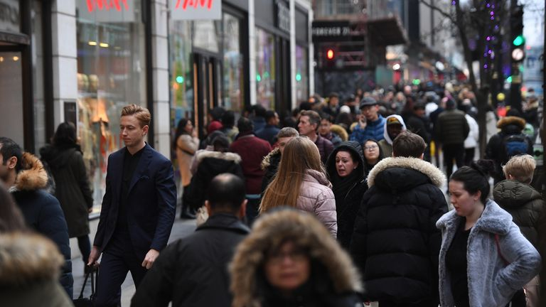 Nearby Oxford Street was packed with shoppers on Boxing Day in 2019