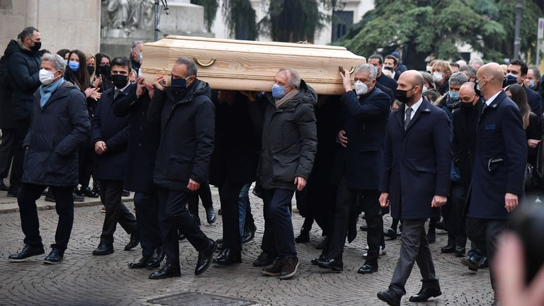 Former Italy players Marco Tardelli, Antonio Cabrini and 1982 World cup teammates carry the coffin of Paolo Rossi