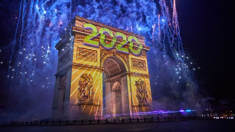 Notre Dame is the focus of this year's party, not the Arc de Triomphe