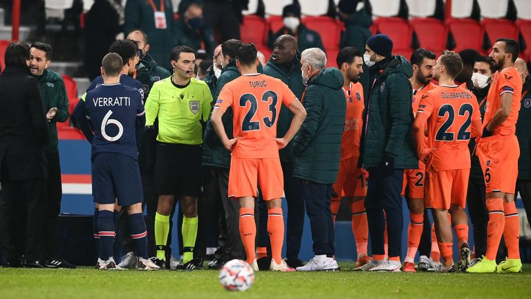 Basaksehir and PSG players walk off pitch after alleged racist slur by  match official | World News | Sky News