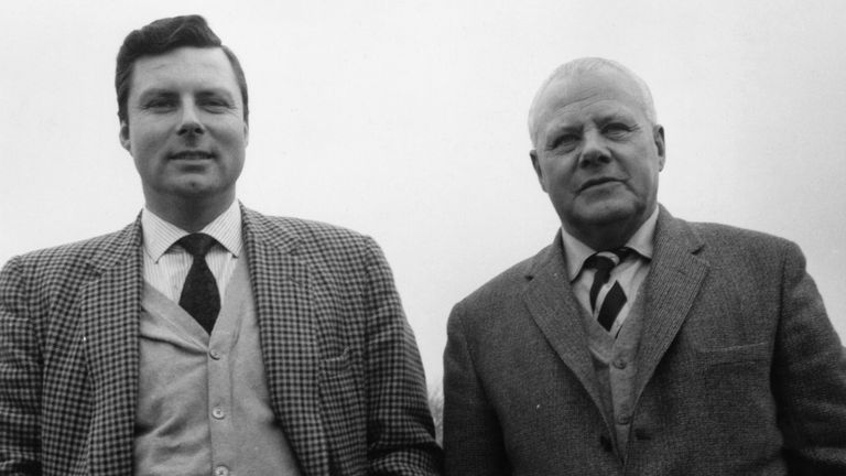 Peter Alliss (left) stands next to his father Percy