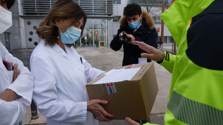 Pfizer vaccine arrives at Papa Giovanni Hospital in Bergamo
