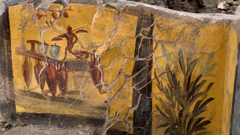 A fresco on an ancient counter uncovered during excavations in Pompeii, Italy, is seen in this handout picture released December 26, 2020. Pompeii Archaeological Park/Ministry of Cultural Heritage and Activities and Tourism