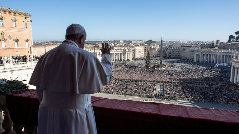 "Pope Francis delivers the ""Urbi et Orbi"" message from the main balcony of St. Peter's Basilica at the Vatican, December 25, 2019. Vatican Media/ Handout via REUTERS ATTENTION EDITORS - THIS IMAGE WAS PROVIDED BY A THIRD PARTY."