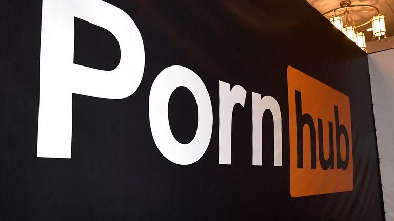 An image of adult film actress Asa Akira is dispayed at the Pornhub booth at the 2018 AVN Adult Entertainment Expo at the Hard Rock Hotel & Casino on January 24, 2018 in Las Vegas