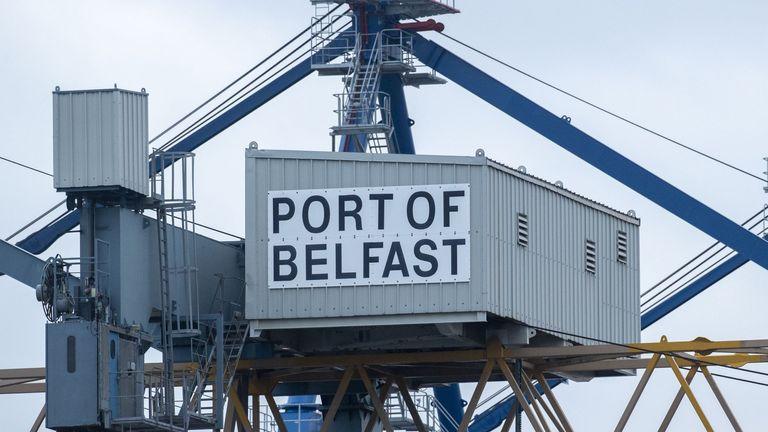 Port of Belfast sign at Belfast Harbour 11/11/2020