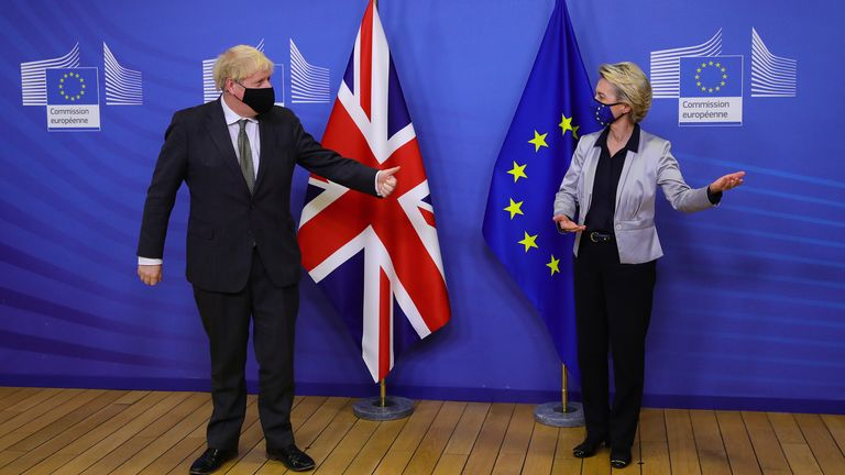 The PM is greeted by EC chief Ursula von der Leyen in Brussels