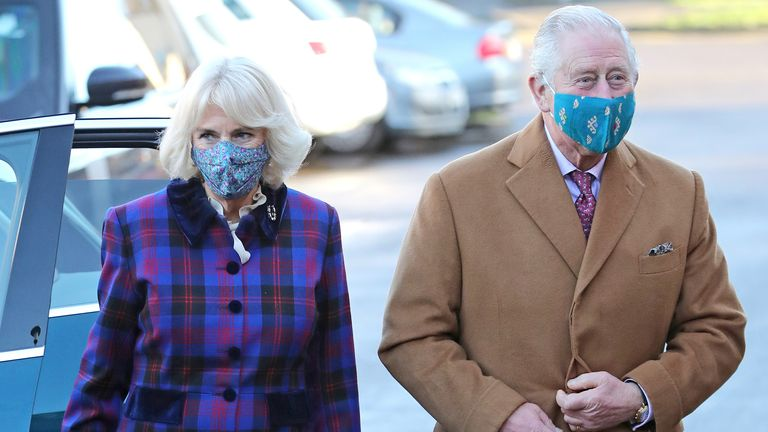 Prince of Wales and Duchess of Cornwall arrive at Gloucestershire Royal Hospital