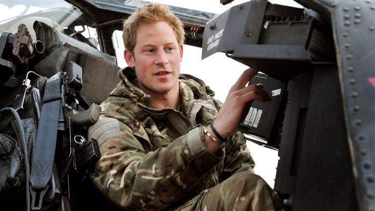 Prince Harry in the cockpit of a helicopter while at Camp Bastion, Afghanistan, 2012