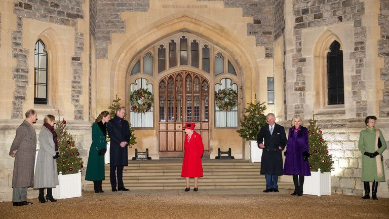 It was the first time in months since the generations of Royals were together again in distance for a carol service.