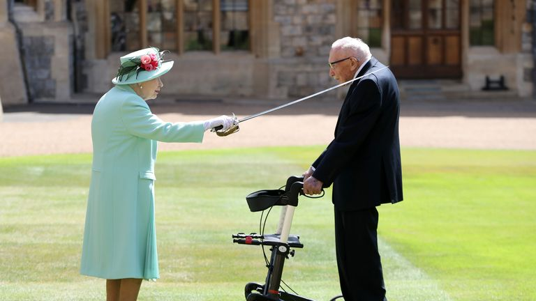 The Queen knighted the fundraiser Captain Thomas Moore and Windsor Castle earlier this year
