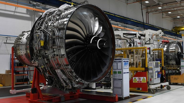 Rolls Royce Trent XWB engines on view on the assembly line at the factory in Derby