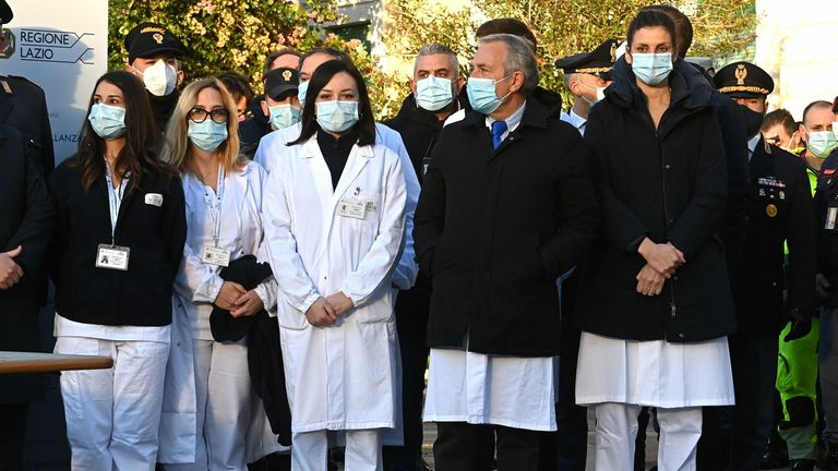 The team of healthcare workers who received the vaccine in Rome