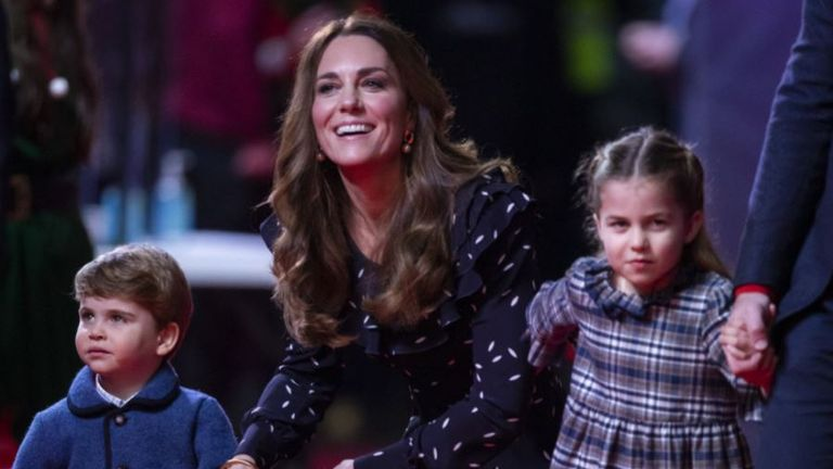 The Duchess of Cambridge with Prince Louis and Princess Charlotte