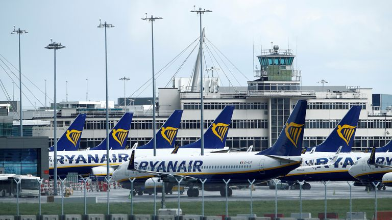 Ryanair planes at Dublin Airport