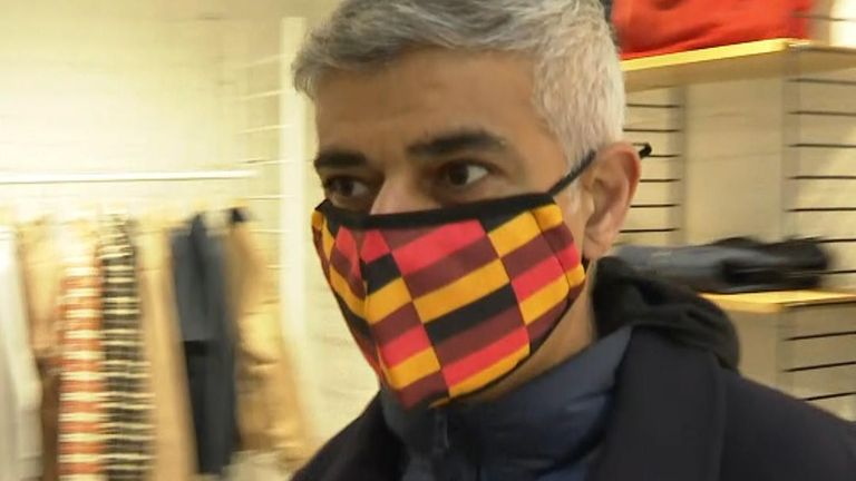 London Mayor Sadiq Khan was out on the streets of the West End, asking for Londoners to visit shops, safely