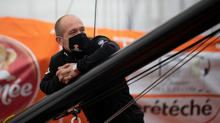 SAILING-FRA-VENDEE-GLOBE-ESCOFFIER French skipper Kevin Escoffier controls his Imoca 60 monohull PRB on the eve of the start of the Vendee Globe around the world monohull solo sailing race in Les Sables-d'Olonne, on November 7, 2020. (Photo by Loic VENANCE / AFP) (Photo by LOIC VENANCE/AFP via Getty Images)