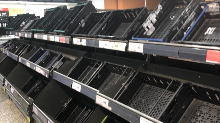 An empty shelf was seen in Sainsbury's in Crystal Palace, south London