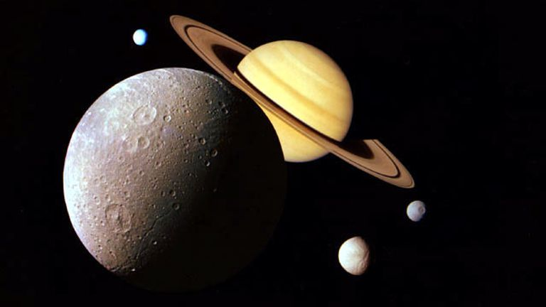 An image montage of the Saturnian system taken by the Voyager probe spacecraft