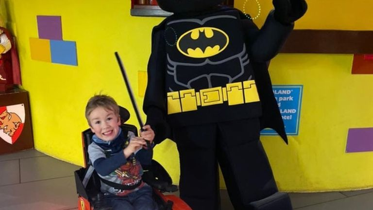 Undated handout photo of seven-year-old Sebby Brett. Legoland has agreed to review their evacuation policies for three rides, following a campaign by the mother of a disabled child who was made to prove he could walk at the theme park.