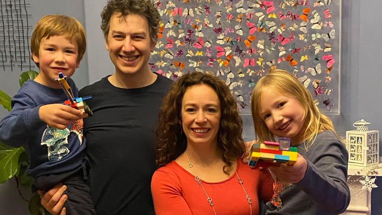 Undated handout photo of Joanna and Duncan Brett with their children Lottie and Sebby. Legoland has agreed to review their evacuation policies for three rides, following a campaign by the mother of a disabled child who was made to prove he could walk at the theme park.