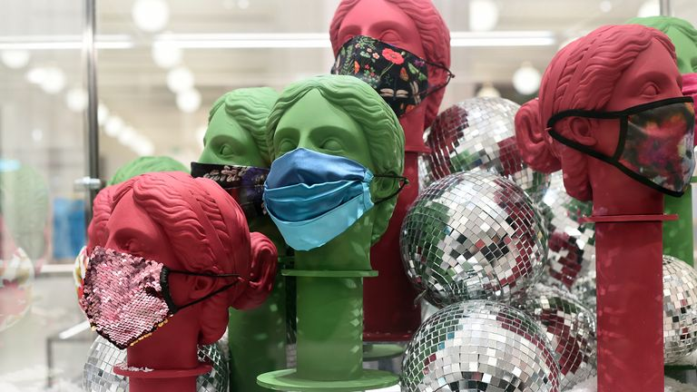 Face coverings are on display as Selfridges reopened its doors