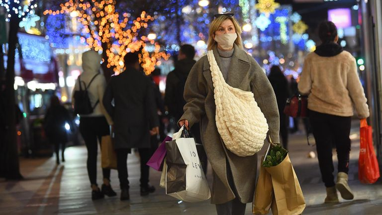 People shopping in Oxford Street in London 17-Dec-2020