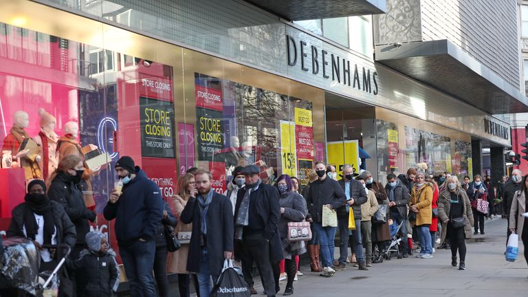 Customers took advantage of price drops at Debenhams, which is closing after falling into administration