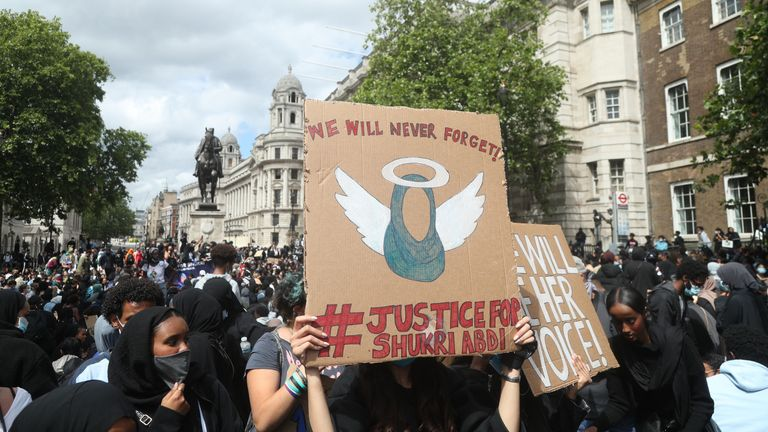 Protesters during a for Justice for Shukri Abdi, in Whitehall, London on 27 June 2020, a year after she died in a drowning
