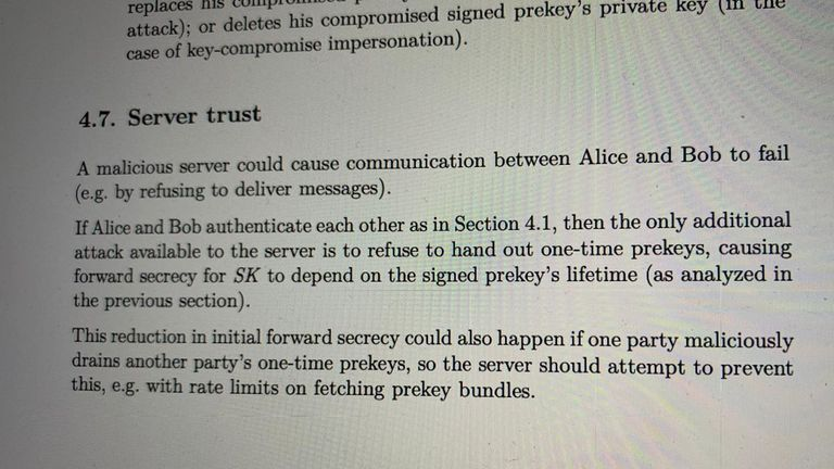 The Signal protocol prevents third parties accessing message content