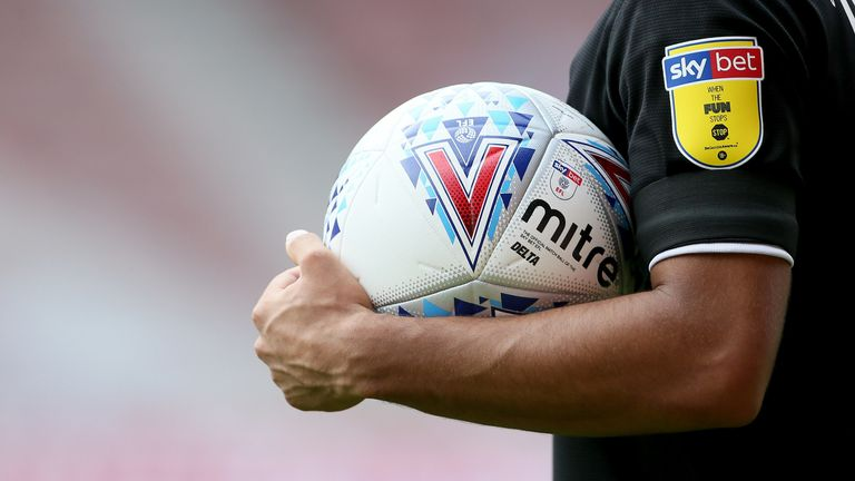 Mitre matchball and Skybet sponsor during the Sky Bet Championship match at Riverside  Stadium , Middlesbrough