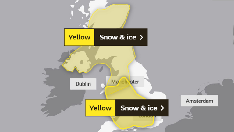 Snow and ice warnings for much of UK
