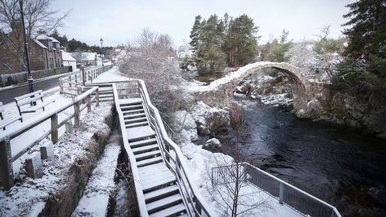 Snow in Carrbridge, Cairngorms National Park in Scotland on 24 December