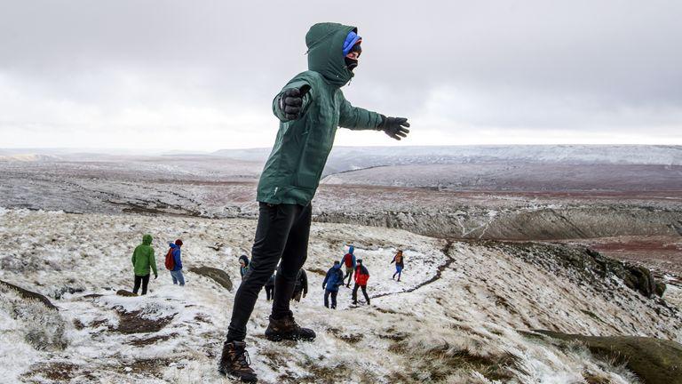 Snow on Bleaklow Moor in the Peak district of Derbyshire