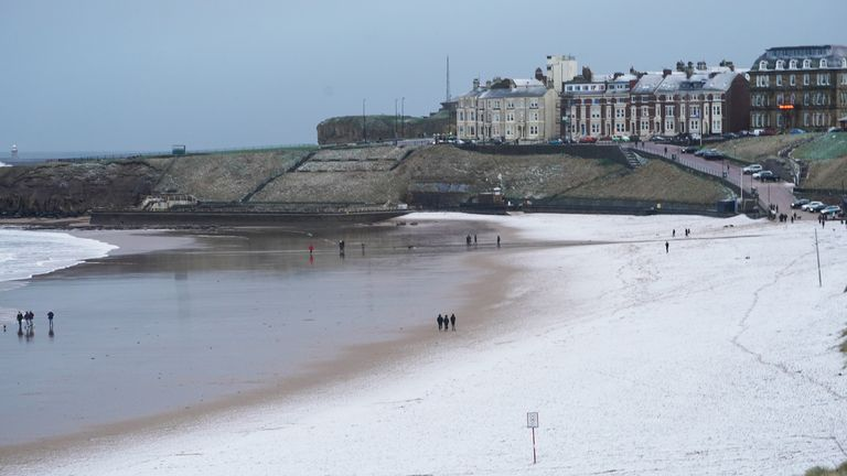 There was a light covering of snow on Tynemouth Beach on the North East coast on Christmas Eve