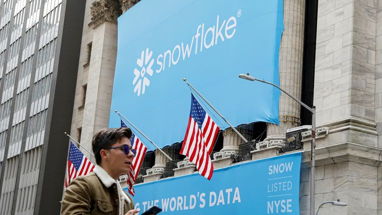 A banner for Snowflake Inc. is displayed celebrating the company's IPO at the New York Stock Exchange (NYSE) in New York, U.S., September 16, 2020
