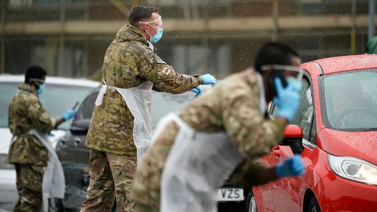Soldiers worked at a 'pop up' testing centre in Macclesfield in April