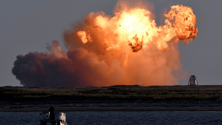 SpaceX's first super heavy-lift Starship SN8 rocket explodes during a return-landing attempt after it launched from their facility on a test flight in Boca Chica, Texas U.S. December 9, 2020